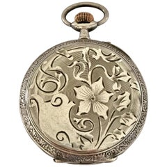 Antique Silver Beautifully Engraved Case Pocket Watch