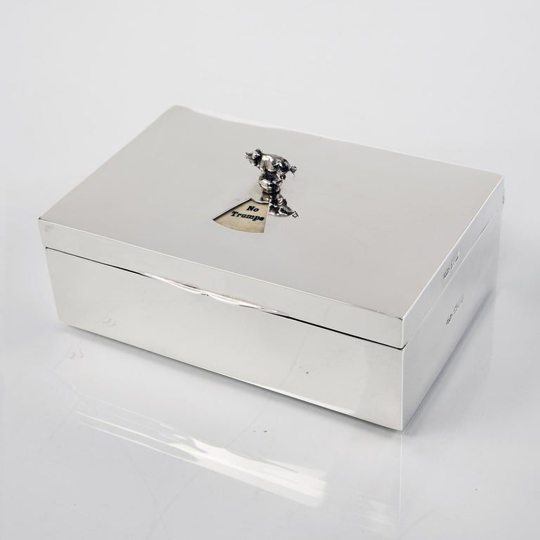 English Antique Silver Bridge Cardbox For Sale