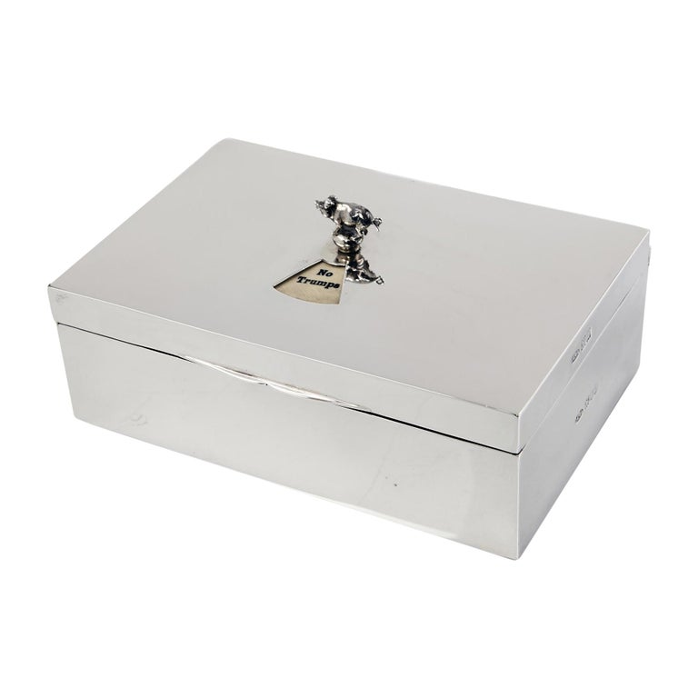 Antique Silver Bridge Cardbox For Sale