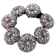 Antique Silver Buttons Bracelet
