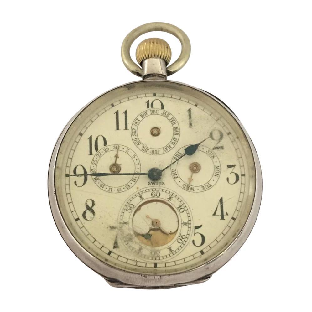Antique Silver Calendar Pocket Watch