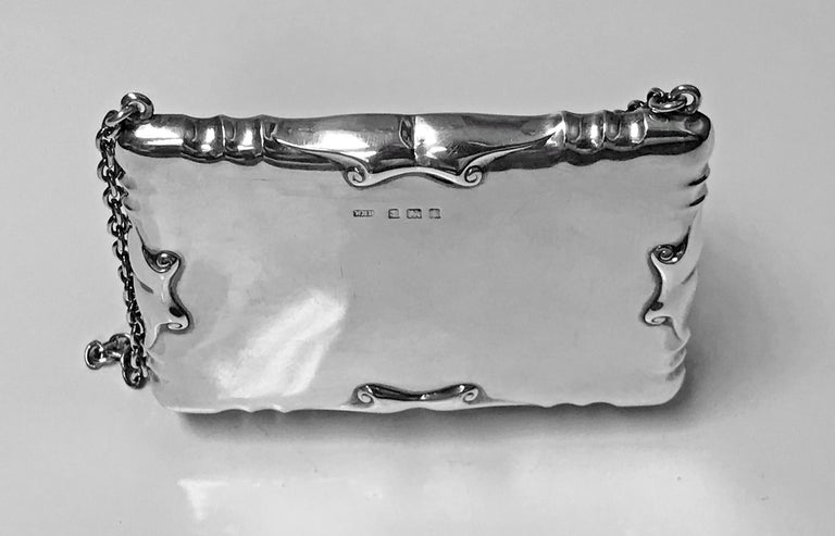 English Antique Silver Card Case Aide Memoire Purse Birmingham 1908 William Haseler For Sale