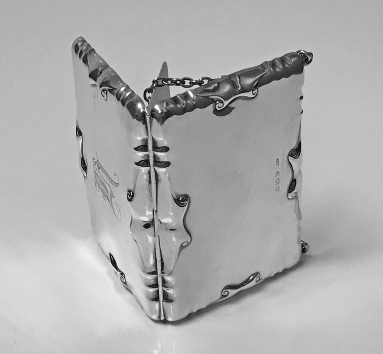 Early 20th Century Antique Silver Card Case Aide Memoire Purse Birmingham 1908 William Haseler For Sale