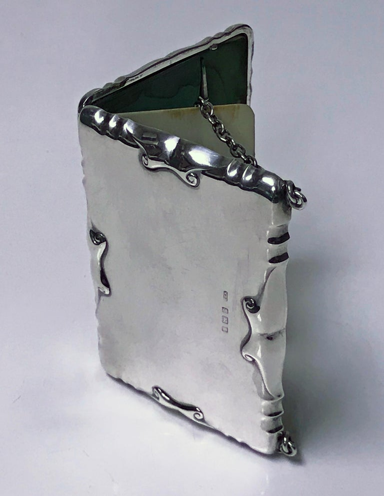Sterling Silver Antique Silver Card Case Aide Memoire Purse Birmingham 1908 William Haseler For Sale