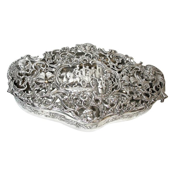 Antique Silver Cast and Pierced Trinket Box, London Assay, William Comyns, 1902