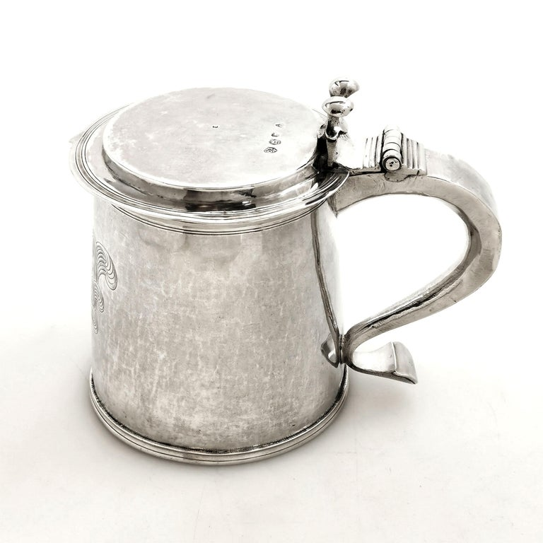 English Antique Silver Charles II Lidded Tankard Mug 1673 17th Century Beer Ale Tankard For Sale