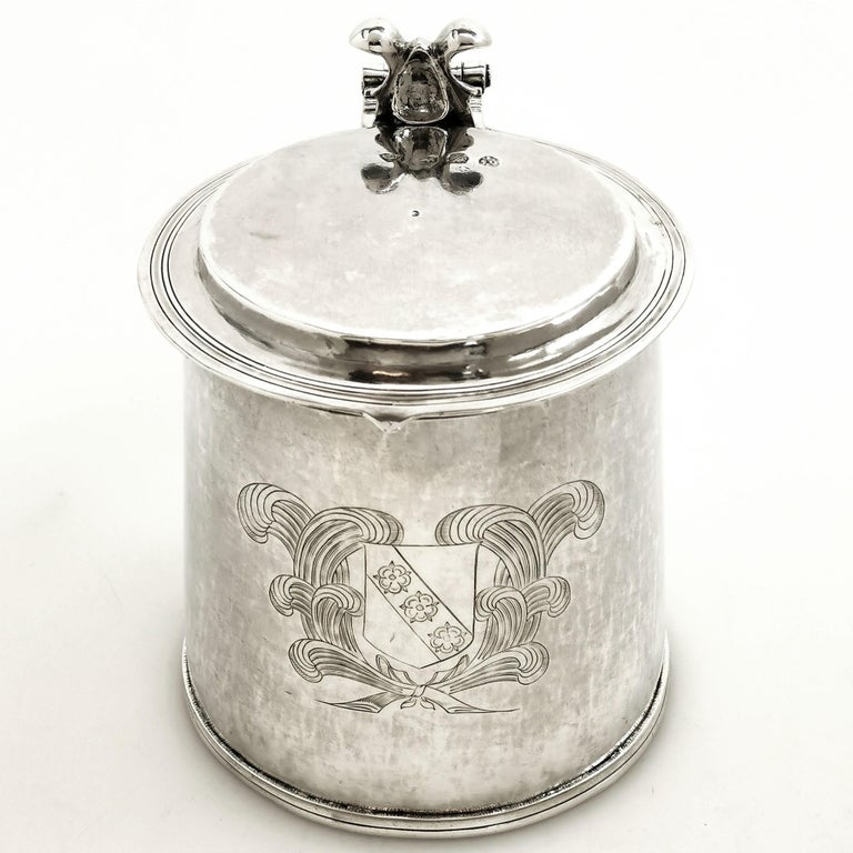 Antique Silver Charles II Lidded Tankard Mug 1673 17th Century Beer Ale Tankard In Good Condition For Sale In London, GB