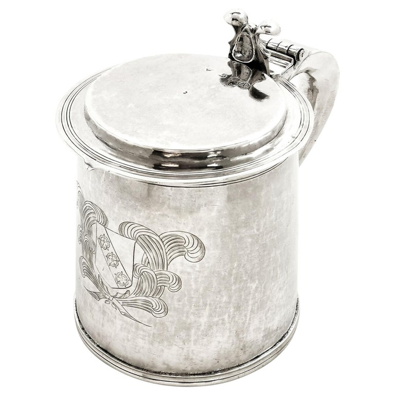 Antique Silver Charles II Lidded Tankard Mug 1673 17th Century Beer Ale Tankard For Sale