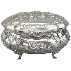 Antique Silver Cookie Tin, Germany, circa 1890s