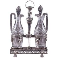 Antique Silver Cruet Set, Oil and Vinegar Bottles, 18th Century Period