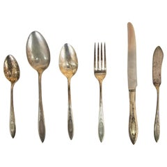 Antique Silver Cutlery with Stunning Embossed Patterns from WMA Rogers Sectional