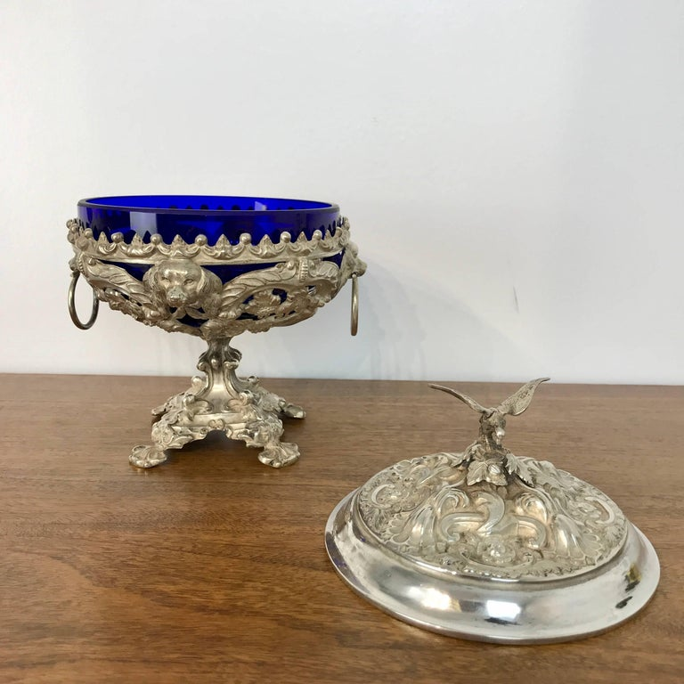 Antique Silver Dog Motif Covered Cobalt Urn For Sale 3