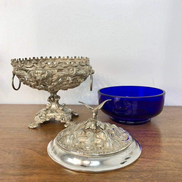 Antique Silver Dog Motif Covered Cobalt Urn For Sale 4