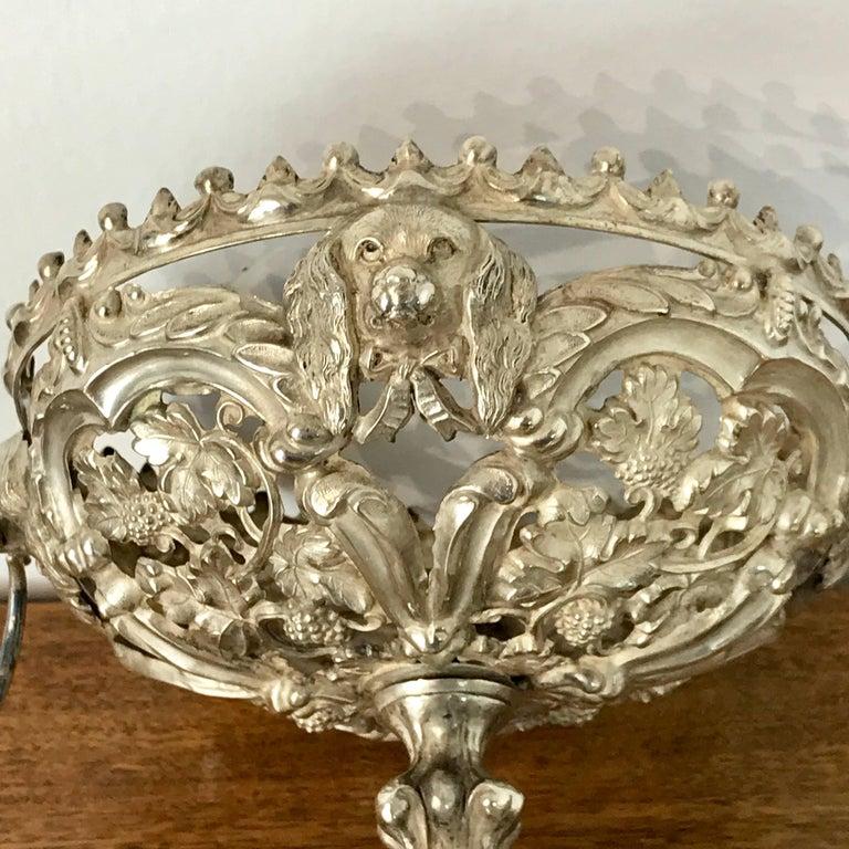 Antique Silver Dog Motif Covered Cobalt Urn For Sale 5