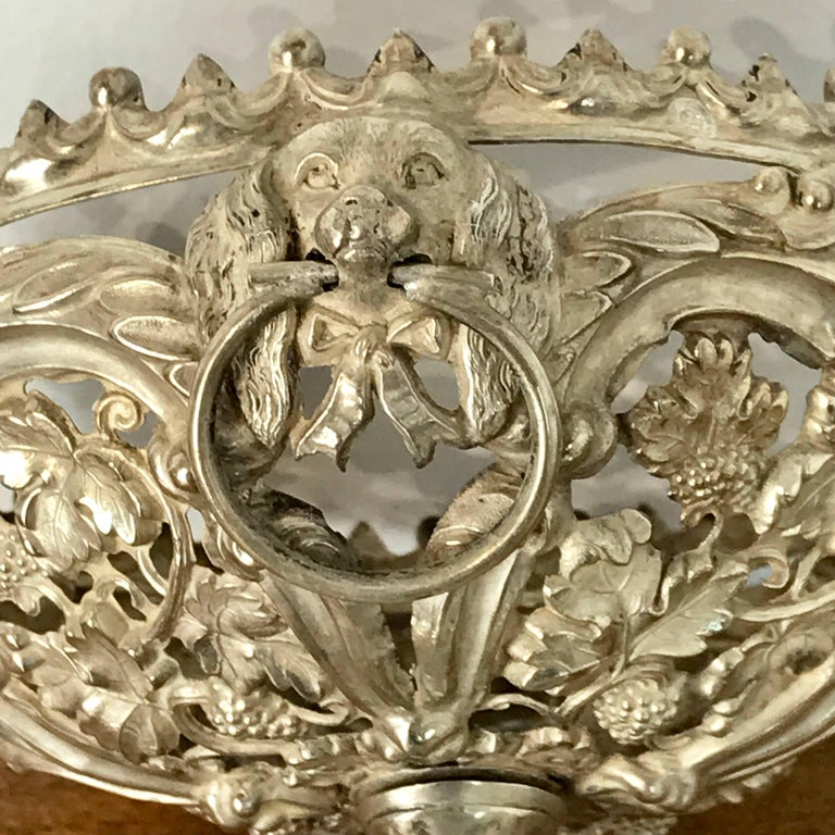 Antique Silver Dog Motif Covered Cobalt Urn For Sale 6