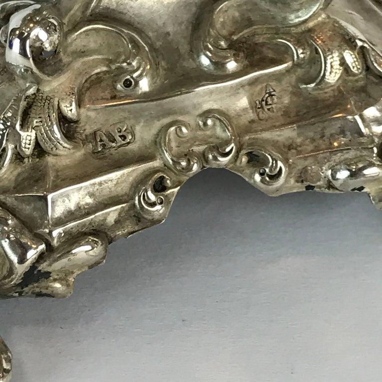 Antique Silver Dog Motif Covered Cobalt Urn For Sale 7