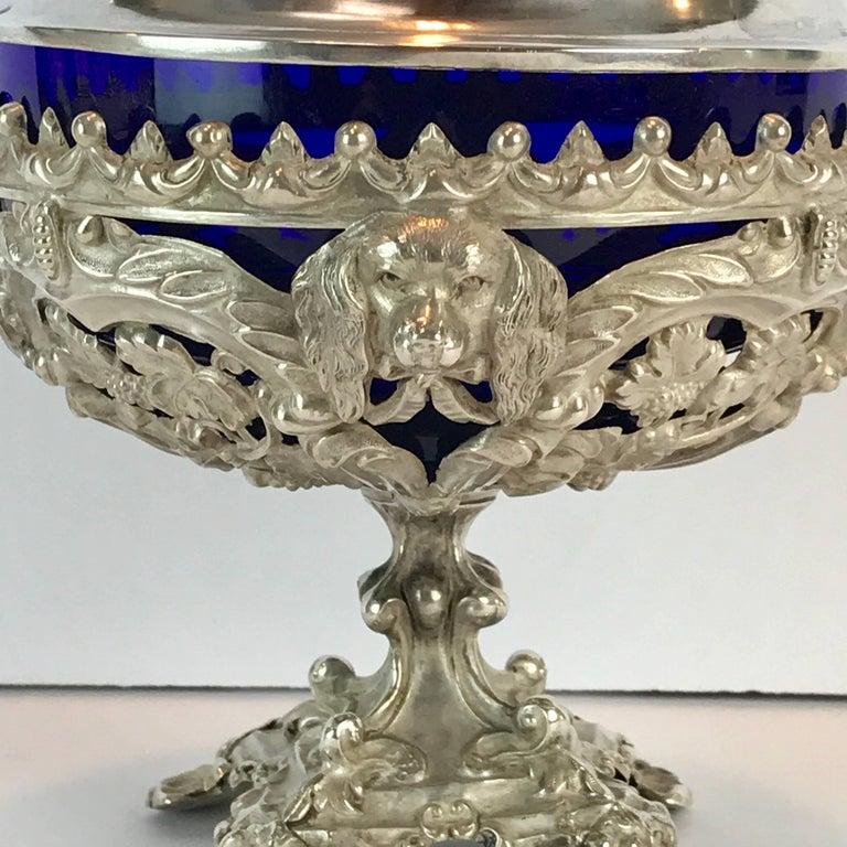 Austrian Antique Silver Dog Motif Covered Cobalt Urn For Sale