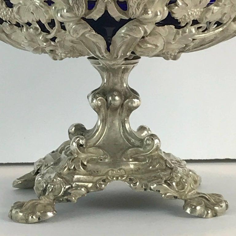 Cast Antique Silver Dog Motif Covered Cobalt Urn For Sale