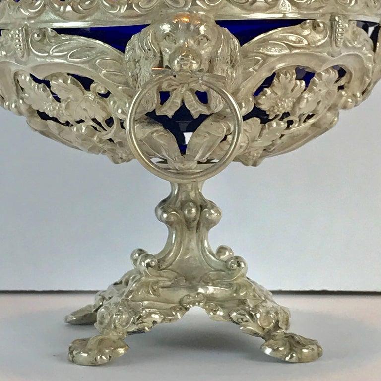 19th Century Antique Silver Dog Motif Covered Cobalt Urn For Sale