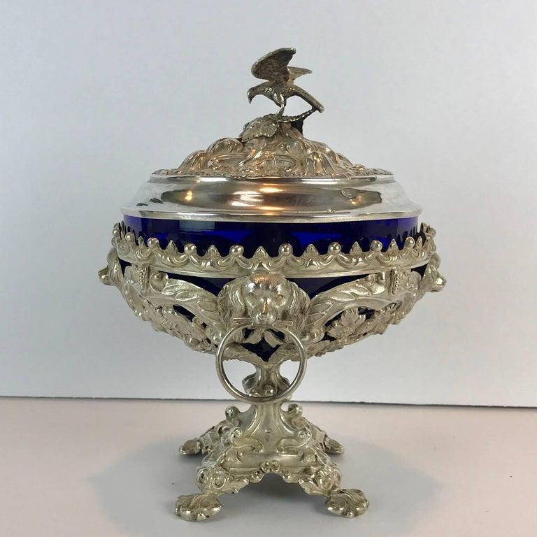 Antique Silver Dog Motif Covered Cobalt Urn For Sale 1