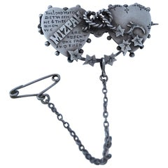 Antique Silver Double Heart Mizpah Brooch / Pin