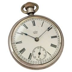 Antique Silver Duplex Pocket Watch Signed Waterbury