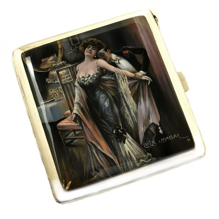 German Antique Silver and Enamel Erotic Cigarette Case 1910 Luis Usabal For Sale