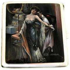 Antique Silver and Enamel Erotic Cigarette Case 1910 Luis Usabal