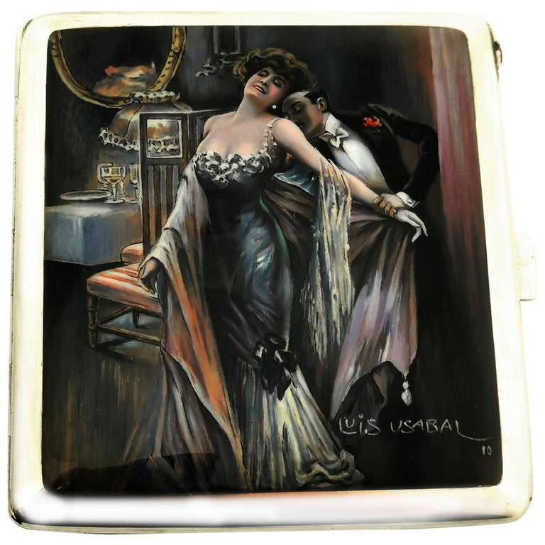 Antique Silver and Enamel Erotic Cigarette Case 1910 Luis Usabal For Sale