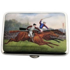 Antique Silver and Enamel Cigarette Case Sampson Mordan Horse Racing Equestrian