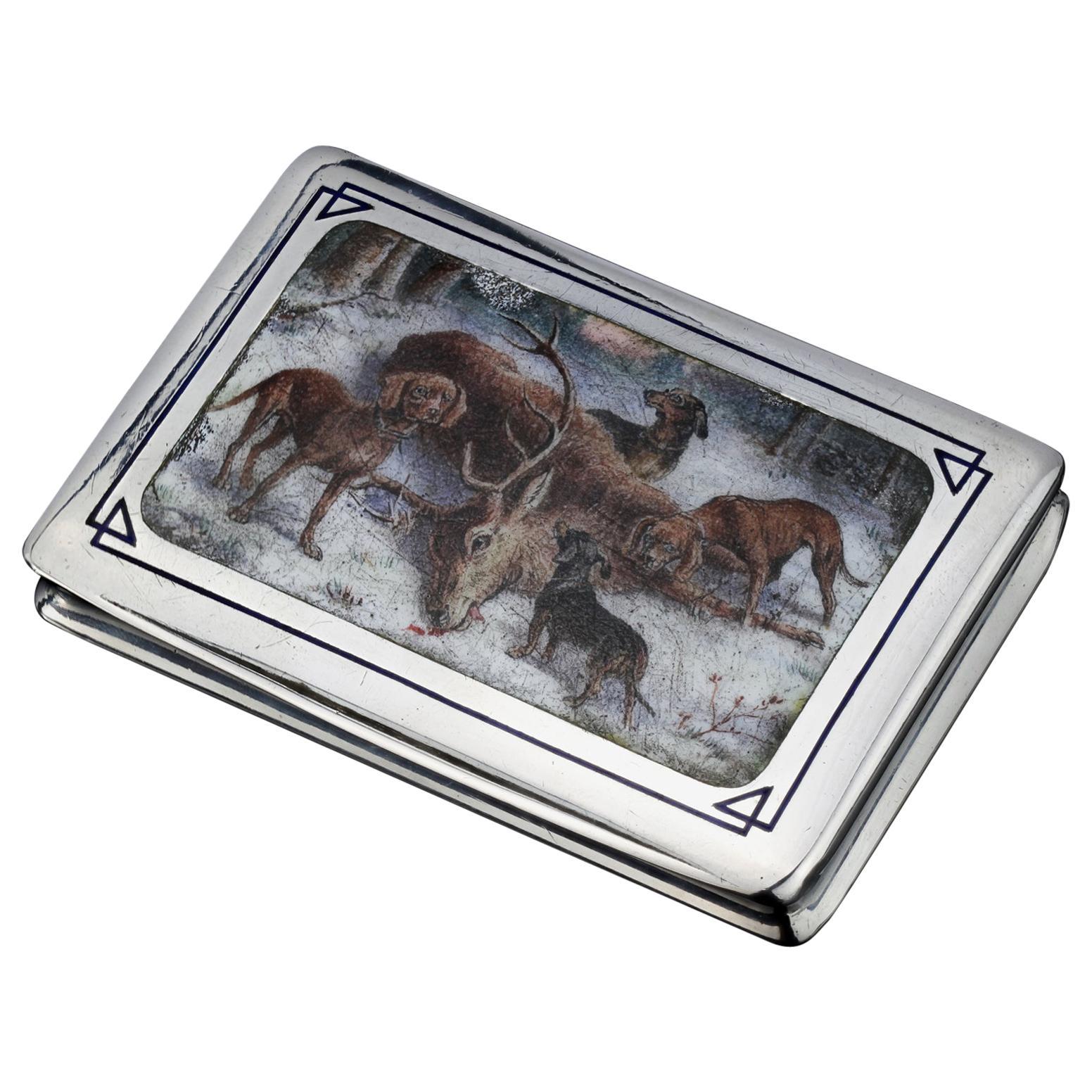 Antique Silver Enamel Painting Hunting Scene Box, Europe