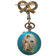 Antique Silver Blue Enamel Swiss Made Broach / Fob Watch, circa 1890