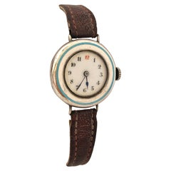 Antique Silver / Enamel Trench Watch