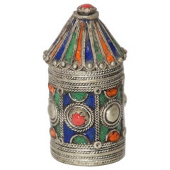 Antique Silver Enameled Powder Kohl Container Box from Kabylie, Algeria