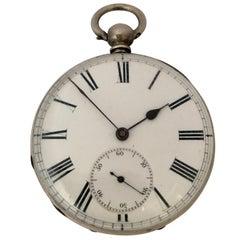 Antique Silver Engine Turned Case Key-Wind Pocket Watch