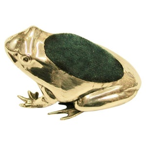 Antique Silver Frog Pin Cushion Dated 1908, Henry Matthews, Birmingham