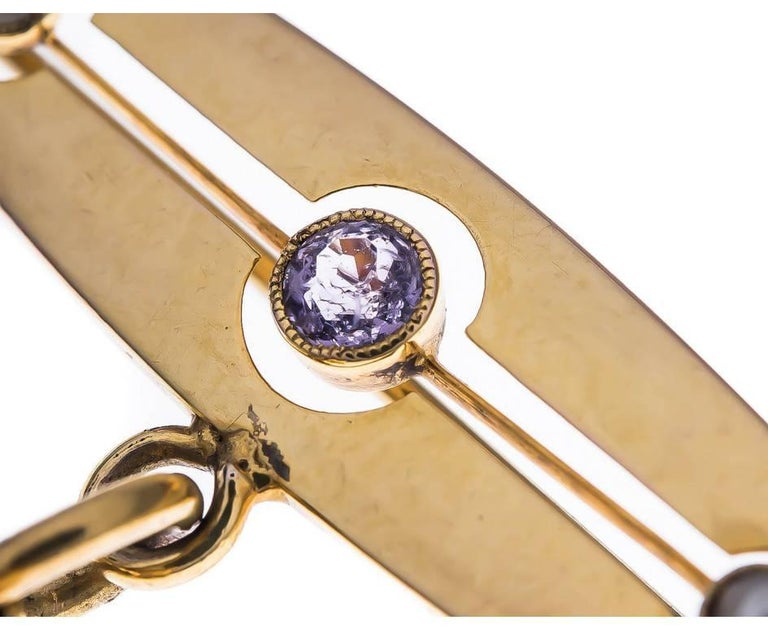 Victorian Antique Silver Gilt & 9ct Yellow Gold Amethyst & Split Pearl Snuff Locket Brooch For Sale