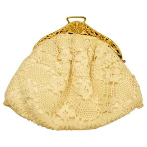 Antique Silver Gilt and Cream Lace Evening Handbag, Dated 1913, Chester