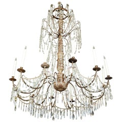 Antique, Silver Gilt and Crystal, Italian Chandelier