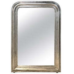 Antique Silver Giltwood Louis Philippe French Mirror