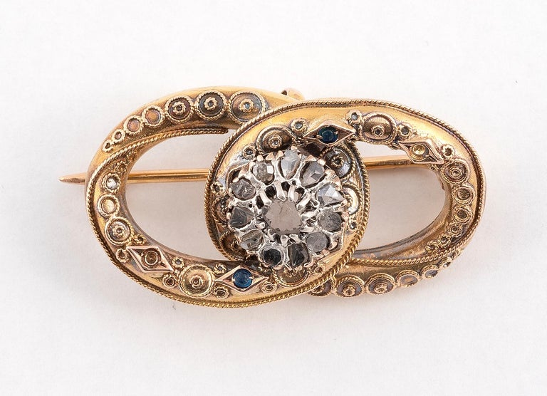 Victorian Antique Silver Gold and Rose Diamond Brooch For Sale