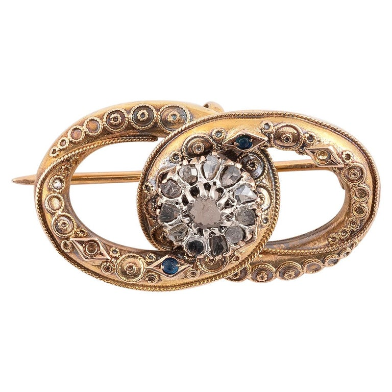 Antique Silver Gold and Rose Diamond Brooch For Sale