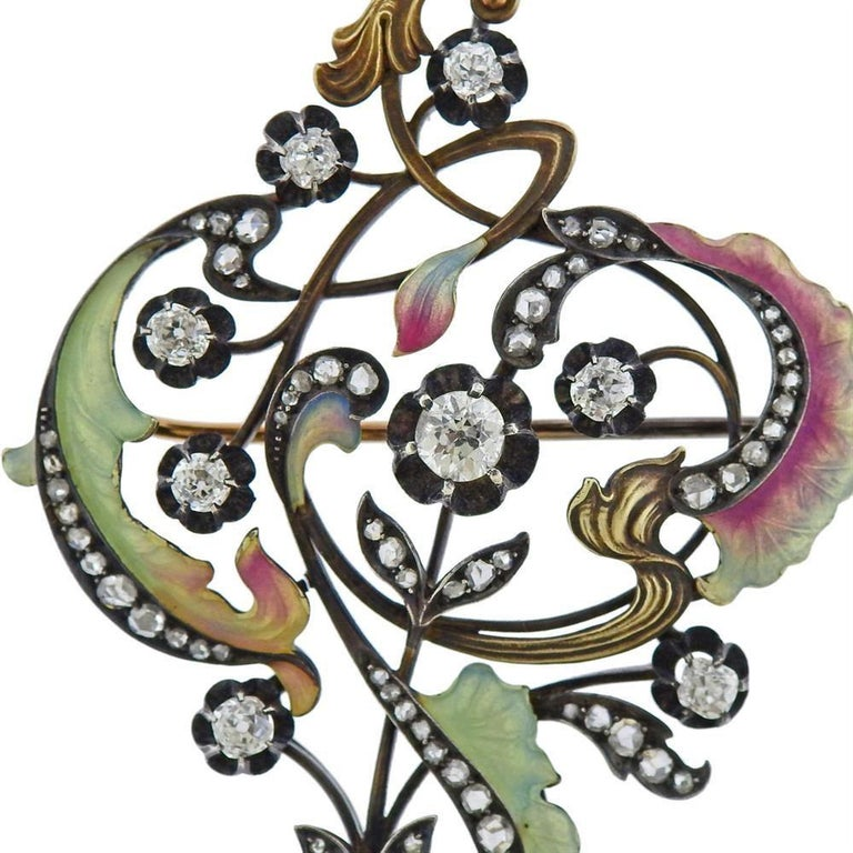 Antique Silver Gold Diamond Plique a Jour Brooch In Excellent Condition For Sale In New York, NY