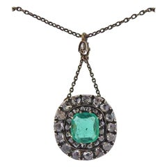 Antique Silver Gold Emerald Diamond Pendant Necklace