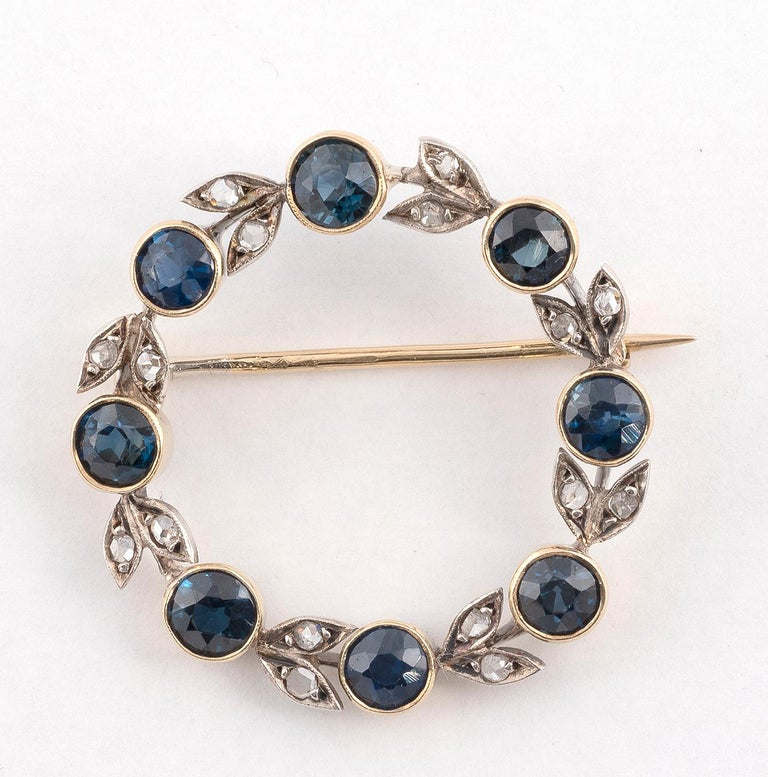 Victorian Antique Silver Gold Rose Diamond and Sapphire Brooch For Sale