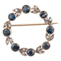 Antique Silver Gold Rose Diamond and Sapphire Brooch