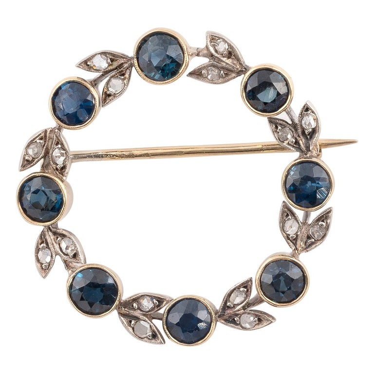 Antique Silver Gold Rose Diamond and Sapphire Brooch For Sale