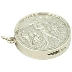 Antique Silver Golfing Match Safe, Vesta Case
