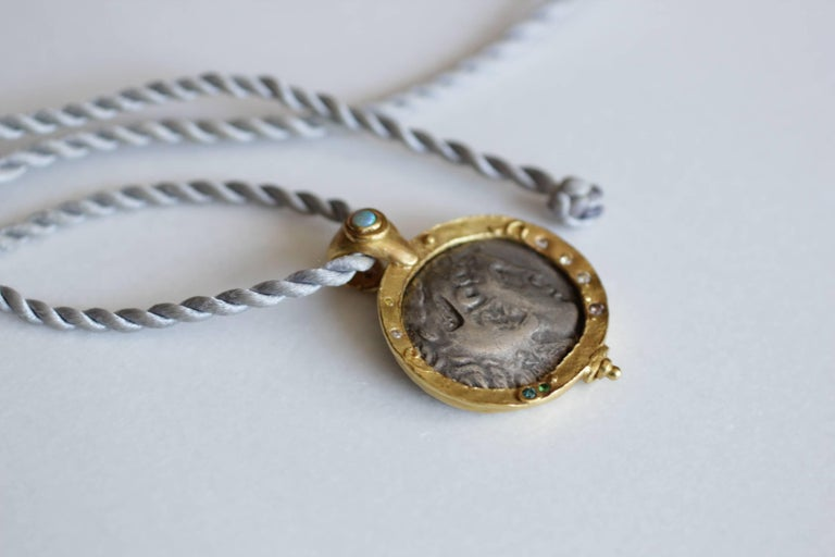 Alexander Macedonian Antique Coin in 22k-21k Gold Pendant with Diamonds, Opal For Sale 2