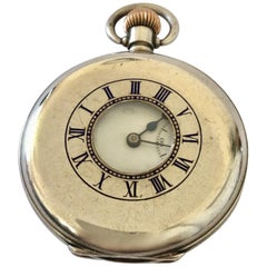 Antique Silver Half Hunter Gents Pocket Watch